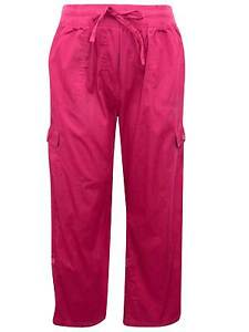 3ee65cceca7 Woman Within ladies trousers plus size 16 raspberry red cotton cargo ...