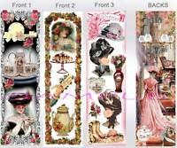 3 Set-victorian Bookmarks Tea Party Vintage Lady Floral Art Of Hat Dress Tea Pot