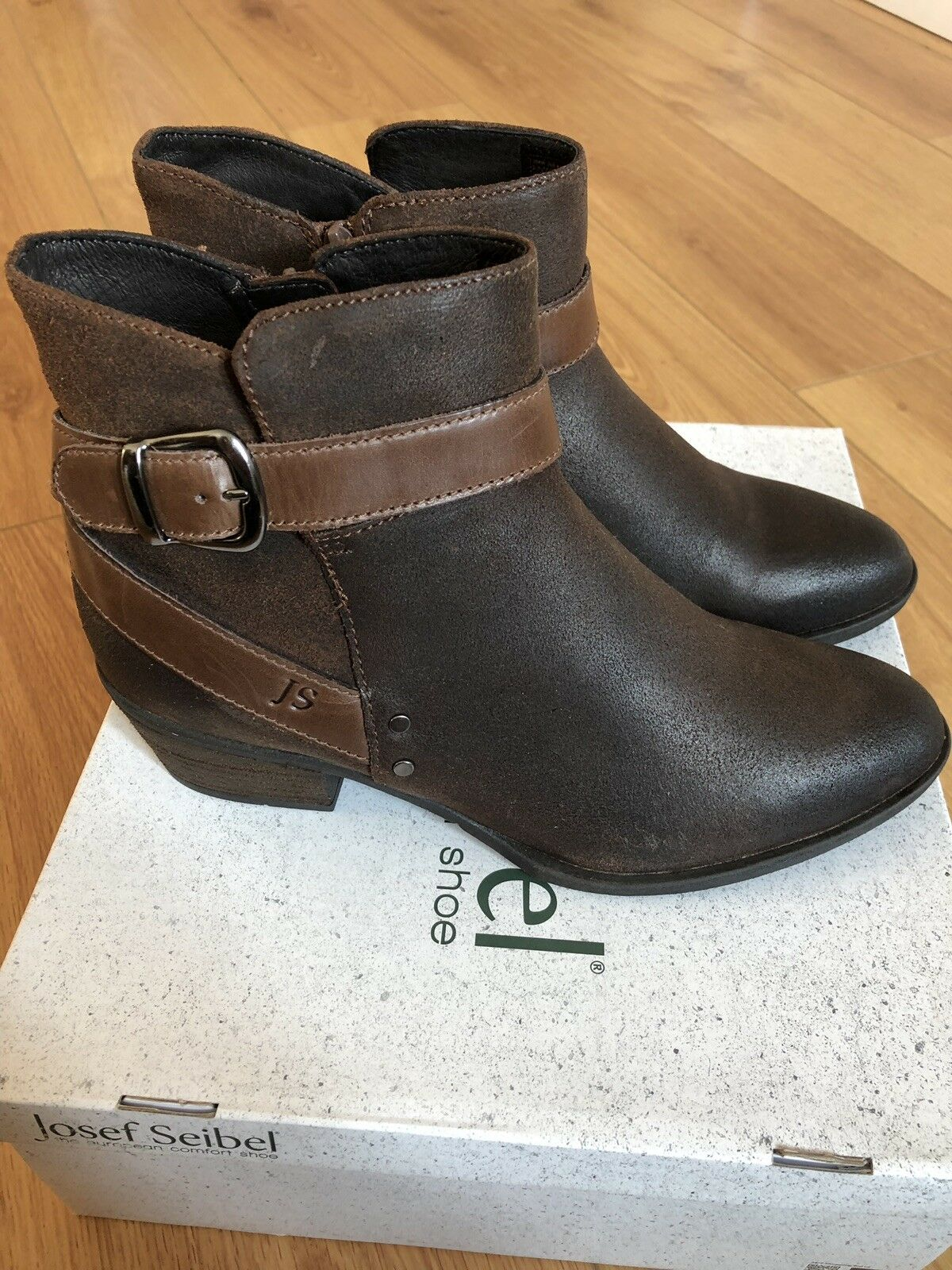 BRAND NEW JOSEF SEIBEL DAPHNE13 ladies fur ankle Stiefel-braun waxy leather UK 4 37