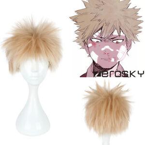 Details About Boku No Hiro My Hero Academia Bakugou Katsuki Bakugo Cosplay Hair Wig Wig Cap