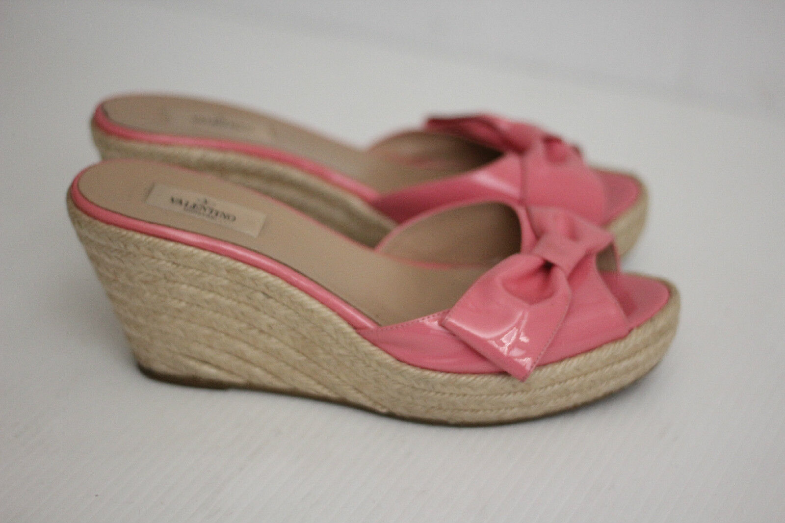 Valentino Bow Patent Leather Wedge Mena Espadrille Slide Sandal- Pink- 11US (Z2)