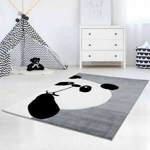 Kinderteppich-Hochwertig-Konturenschnitt-Glanzgarn-Panda-Baer-Grau-Kinderzimmer