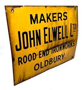 Antique Advertising -  Enamel Sign for John Elwell Rood End Ironworks Oldbury