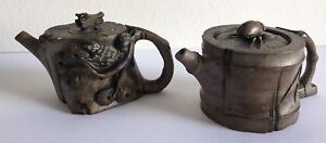 Beautiful-miniature-Japanese-pottery-tea-pots-with-beetle-amp-squirrel-decoration