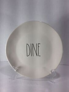 NEW-Rae-Dunn-DINE-11-inch-Dinner-Plate-Ceramic-Ivory-With-Black-Lettering