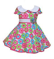 New Baby Girls Green and Hot Pink Flower Dress 6 9 12 18 24 Months
