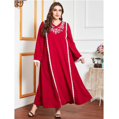 Kaftan Abaya Women Casual Loose Long Maxi Dress Party Muslim Jilbab Islamic Robe