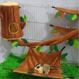 Hot Sale! 5 Pcs Sugar Glider Cage Set Hanging Log Brown Forest Pattern.