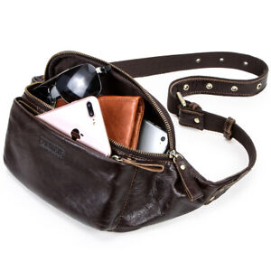 Genuine-Leather-Fanny-Pack-Men-039-s-Waist-Bag-Chest-Shoulder-Bag-Crossbody-Backpack