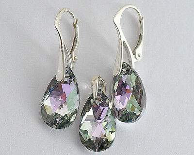 PEAR 16 GENUINE SWAROVSKI CRYSTAL SET (earrings + pendant)  - STERLING SILVER
