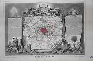 Grande-carte-France-Map-1852-ATLAS-LEVASSEUR-Ed-Combette-Departement-75-LA-SEINE
