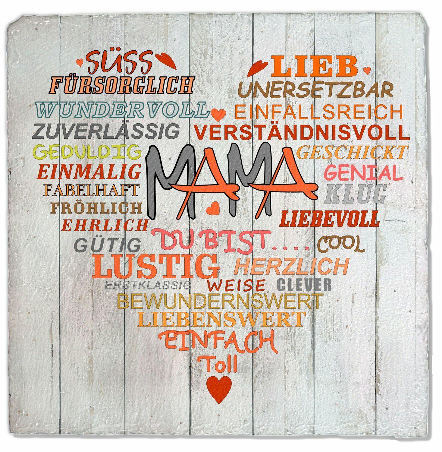 Deko Wandbild Druck Schilder V-Mam 20x20cm Wand-Schild Mama mit Herz Schiefer