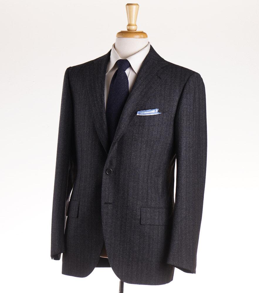 NWT 6400 CESARE ATTOLINI Charcoal grau Woven Stripe Wool Suit 42 R (Eu 52)