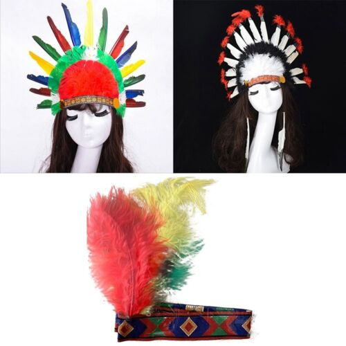 Long Indian Chief Headdress Adult Unisex Smiffys Fancy Dress Costume Hat
