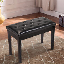 Wood Leather Piano Bench Concert Padded Keyboard Double Seat Storage Black