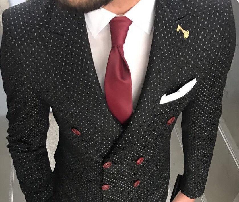 Designer Geschäft Schwarz Weiß Gepunktet Herrenanzug Doppelreiher Tailliert Slim