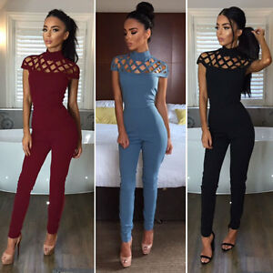 Women-Ladies-Clubwear-Hollow-Playsuit-Bodycon-Party-Jumpsuit-amp-Romper-Trousers-US