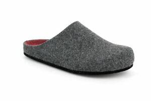 Grunland-ciabatte-pantofole-uomo-EURO-CB2209-grigio-antracite-bordo-feltro-soft