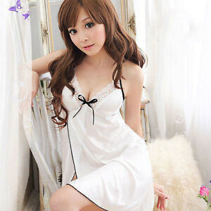 Womens-Sexy-Lingerie-Lace-Dress-Underwear-White-Babydoll-Sleepwear-G-string