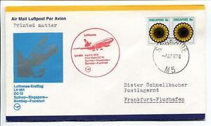 DernièRe Collection De Ffc 1974 Lufthansa Primo Volo Lh 691 Dc-10 - Sydney Singapore Bombay Francoforte