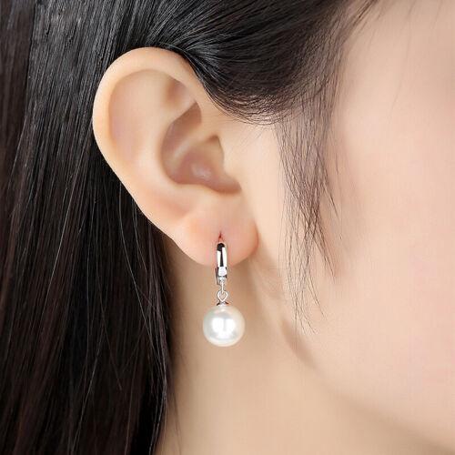 Damen Creolen mit Anhänger Perle echt Sterling Silber 925 Kreolen Ohrringe