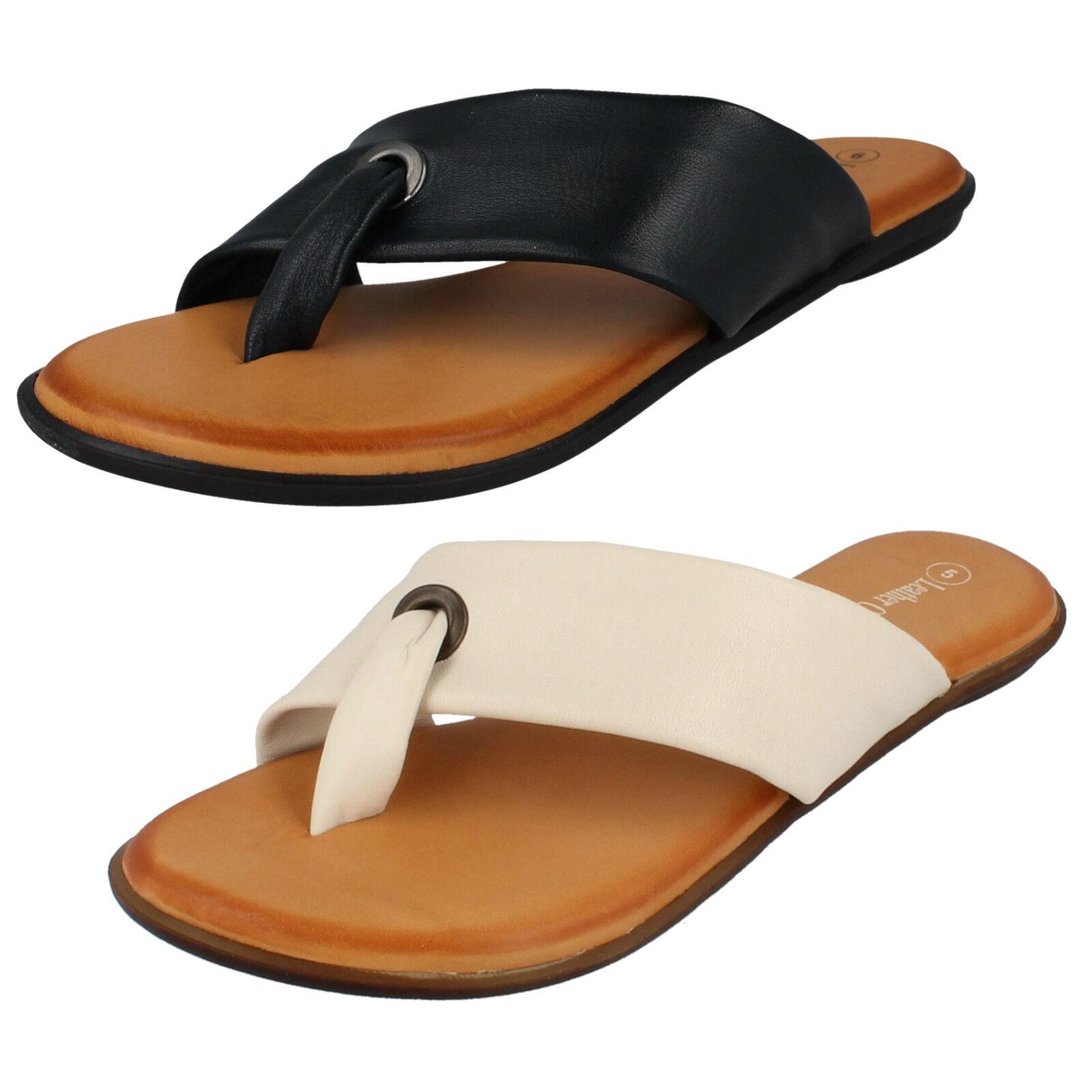 Ladies Post Leather Collection Toe Post Ladies Flip Flop Sandal F0R0147 a3201d