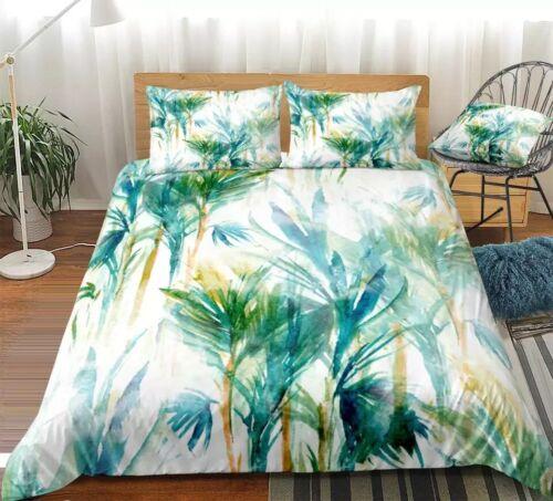 Palmiers Tropique Aquarelle Simple Double King housse de couette taie d/'oreiller lit