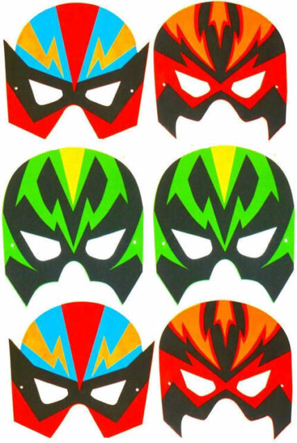 6 Mousse Super Hero Masques - Pinata Jouet Sachet / Sac de Fête Mariage/Enfants