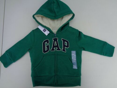 NEW Gap Cozy Hoodie Sherpa Zip Green Logo Boys Jacket Coat 12-18 M 18-24 m 2T 18