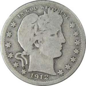 1912 Barber Quarter AG About Good 90% Silver 25c US Type Coin Collectible