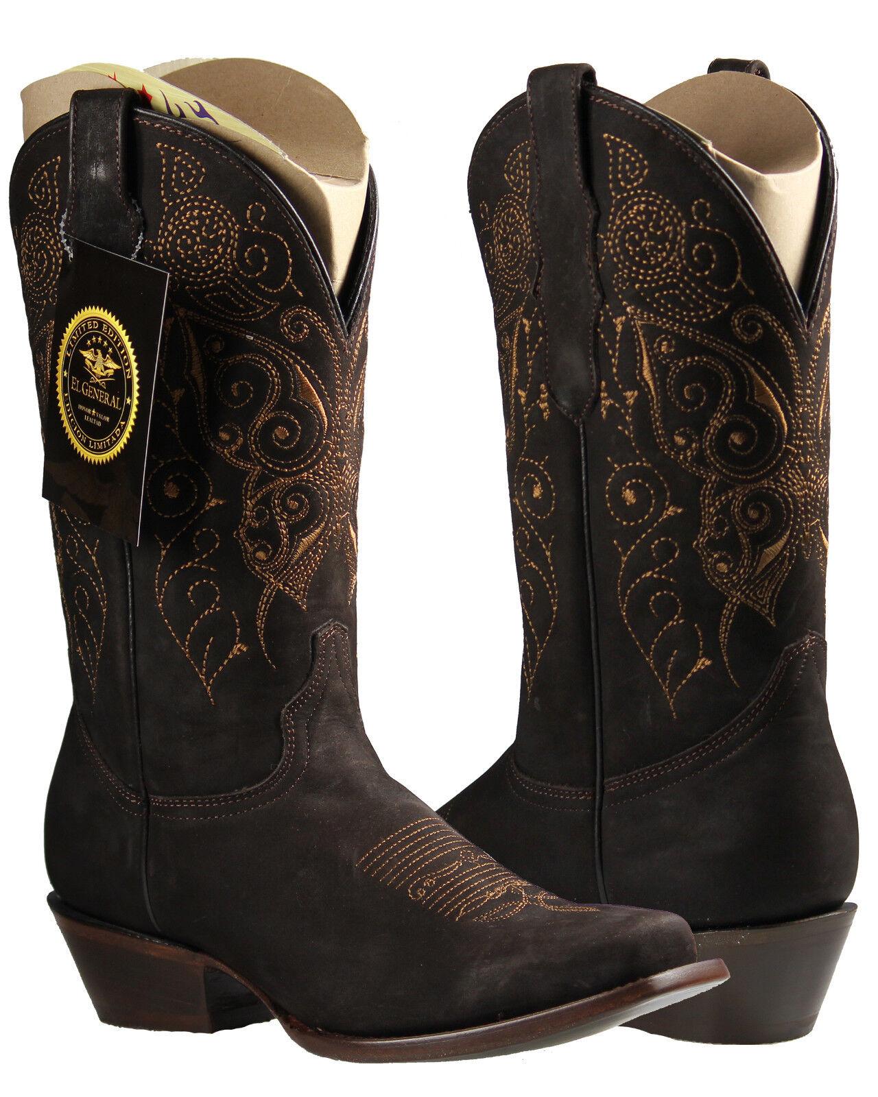 Donna Cowgirl Rodeo stivali  Limited Edition El General Nubuck Leather Marronee  spedizione gratuita!