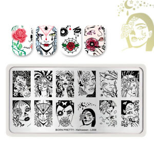 BORN-PRETTY-Halloween-Series-L006-Nail-Stamping-Plate-Skull-Beauty-Rose-Manicure