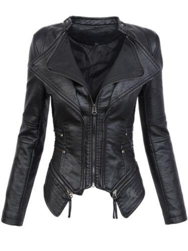 Coat Efterår Black Læder Fashion Kvinder Vinter Gothic Faux Motorcykel Jacket wgAEI0