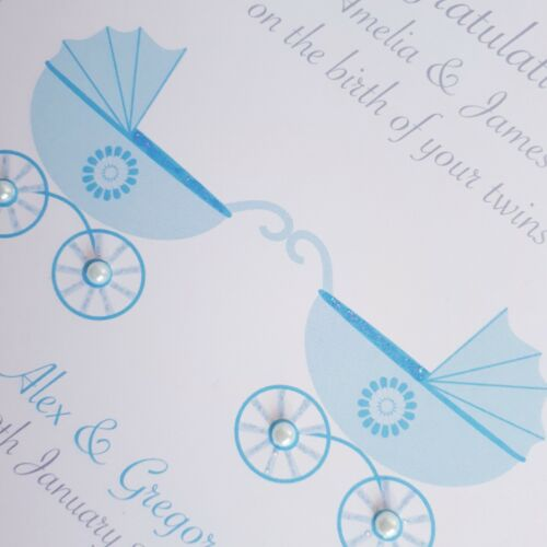 Personalised NEW BABY CONGRATULATIONS CARD Blue Prams Birth of Twin Boys