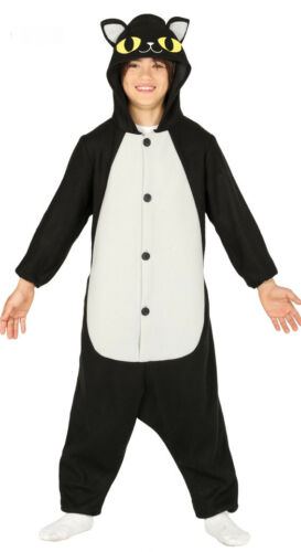 Cat Pyjamas Girls Boys Fancy Dress Halloween Costume Kids Black Hoodie Age NEW