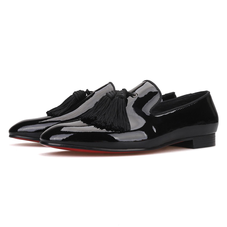 Merlutti Black Patent Leather Tasseled Wedding Flat
