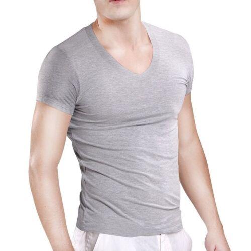 Man/'s Tight Undershirt Short Sleeve Modal Deep V-Neck Tighten UP Cuff Ondergoed
