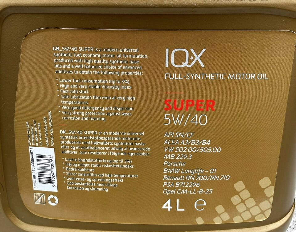 Motorolie, IQ-X SUPER 5W-40