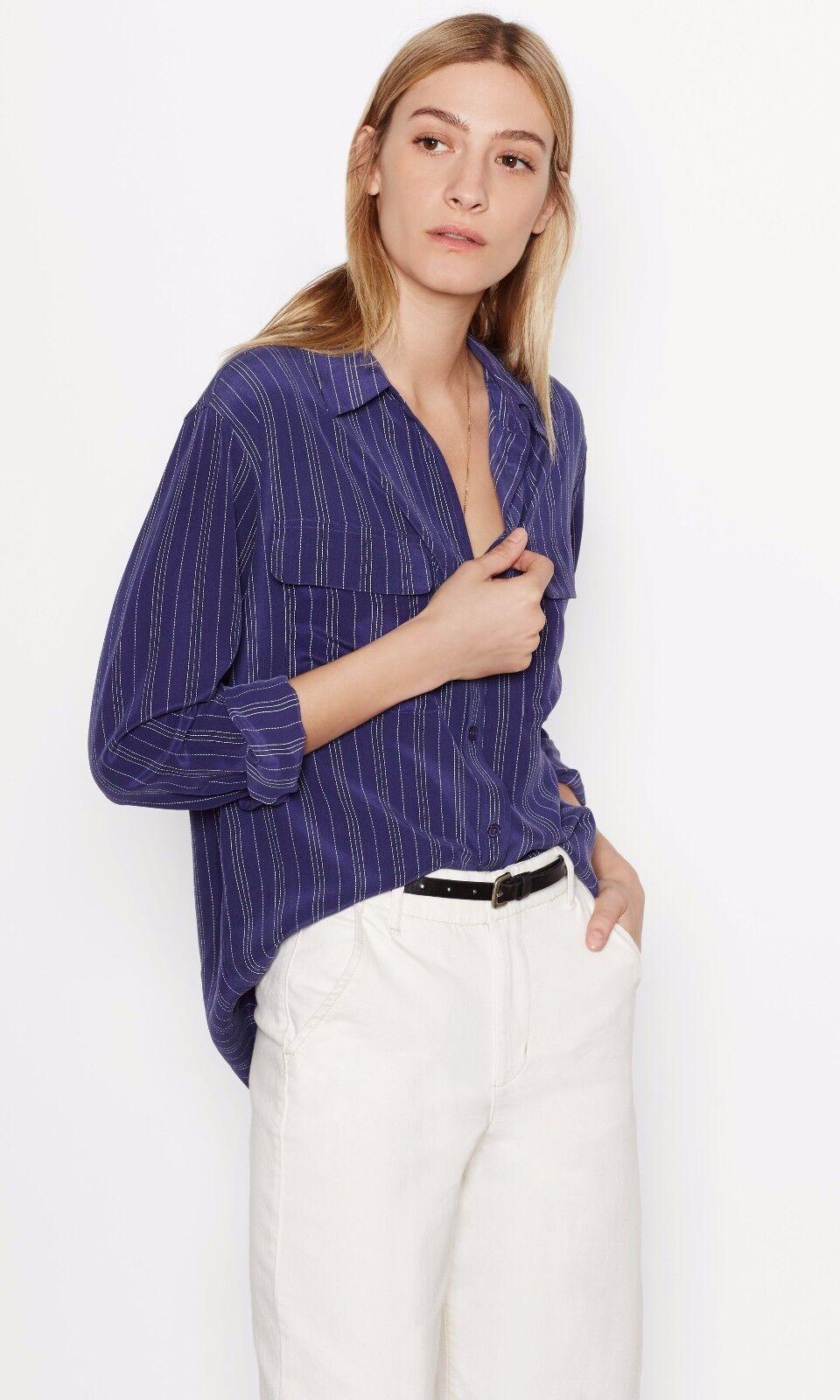 NWT Equipment Signature Stripe Silk Shirt Blouse Ultramarine Größe XS,S