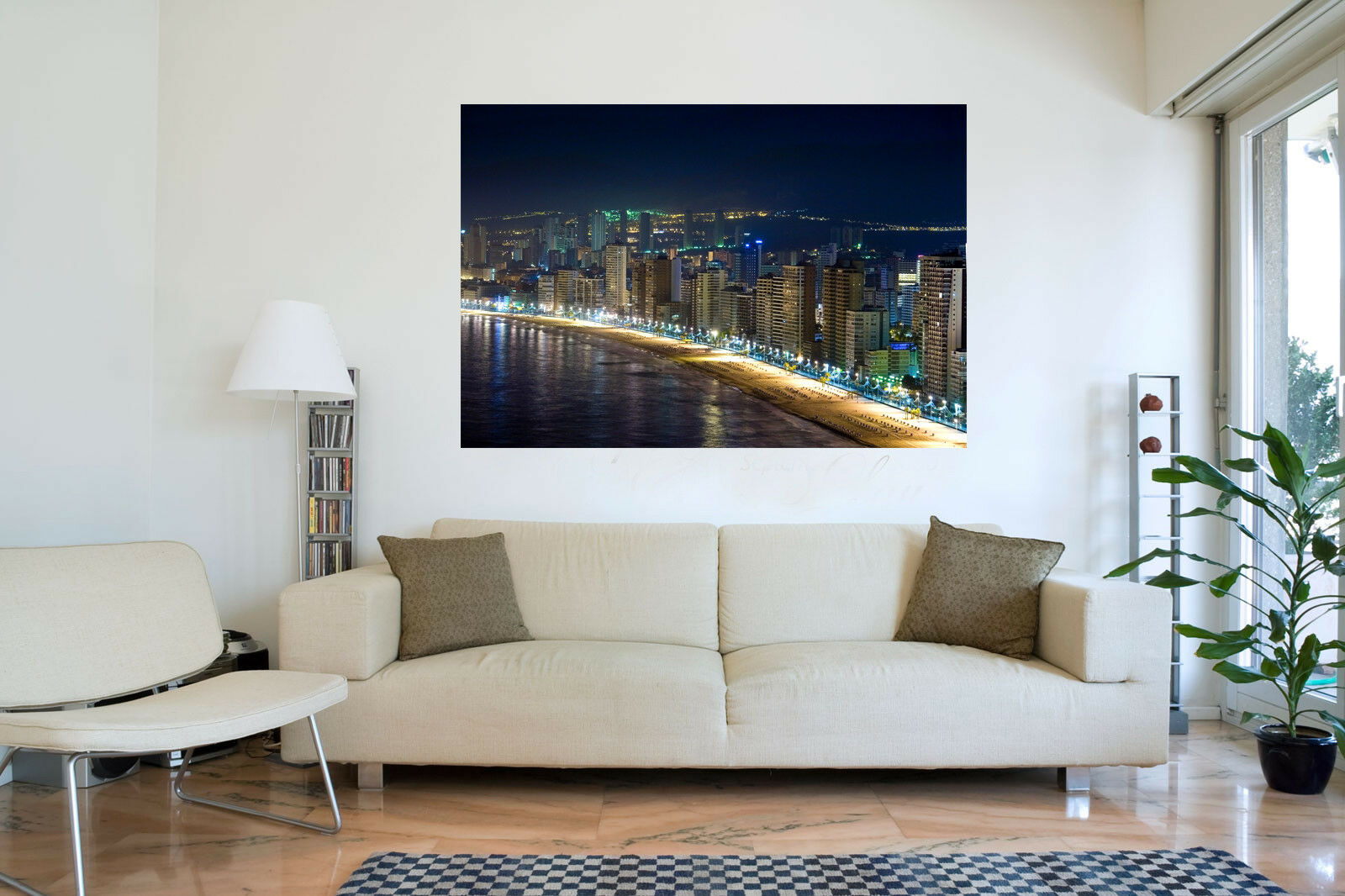 Benidom At Night Landscape Cotton Canvas Canvas Canvas Wall Art Picture Print- ALL GrößeS 23bc9f