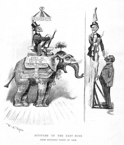 EASY BOSS ATTITUDE REPUBLICAN ELEPHANT ANTIQUE PRINT