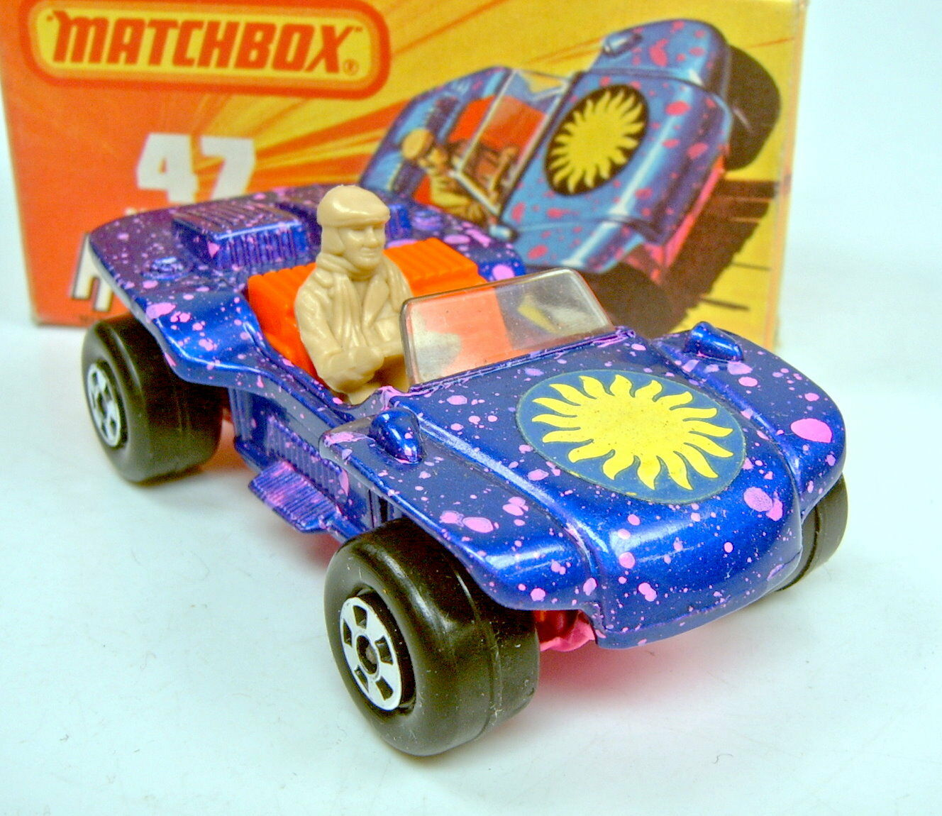 MATCHBOX superfast Nº 47b BEACH HOPPER bleumet. plastique pare-brise avant top dans Box