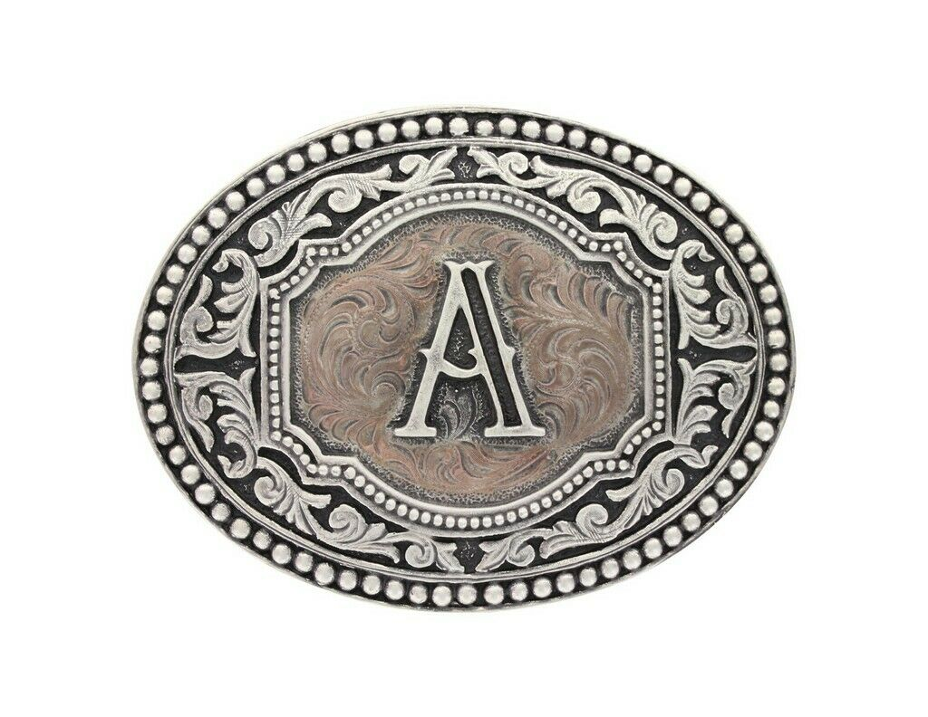 Montana Silversmiths Mens Initial R Two-Tone Attitude Belt Buckle A518r