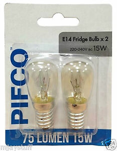2-x-PIFCO-220-240v-15w-Kuehlschrank-Kuehlschrank-Gefrierschrank-Appliance-SES-e14-Lampe-Pygmaeen