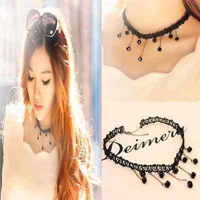 Fashion Black Collar Choker Bib Beads Pendant Crystal Chain Jewelry Necklace New
