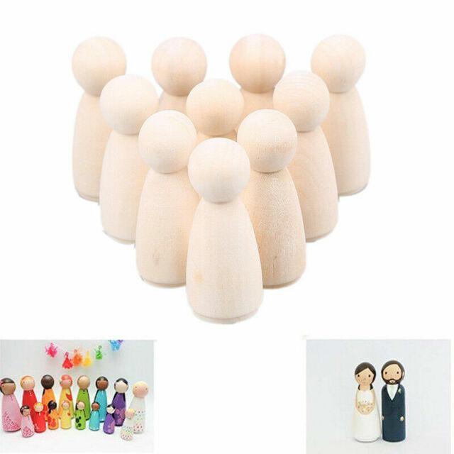 """1.38/""""-2.56/"""" Natural Unfinished Wooden Dolls Unisex Peg Dolls Wedding Cake Topper"""