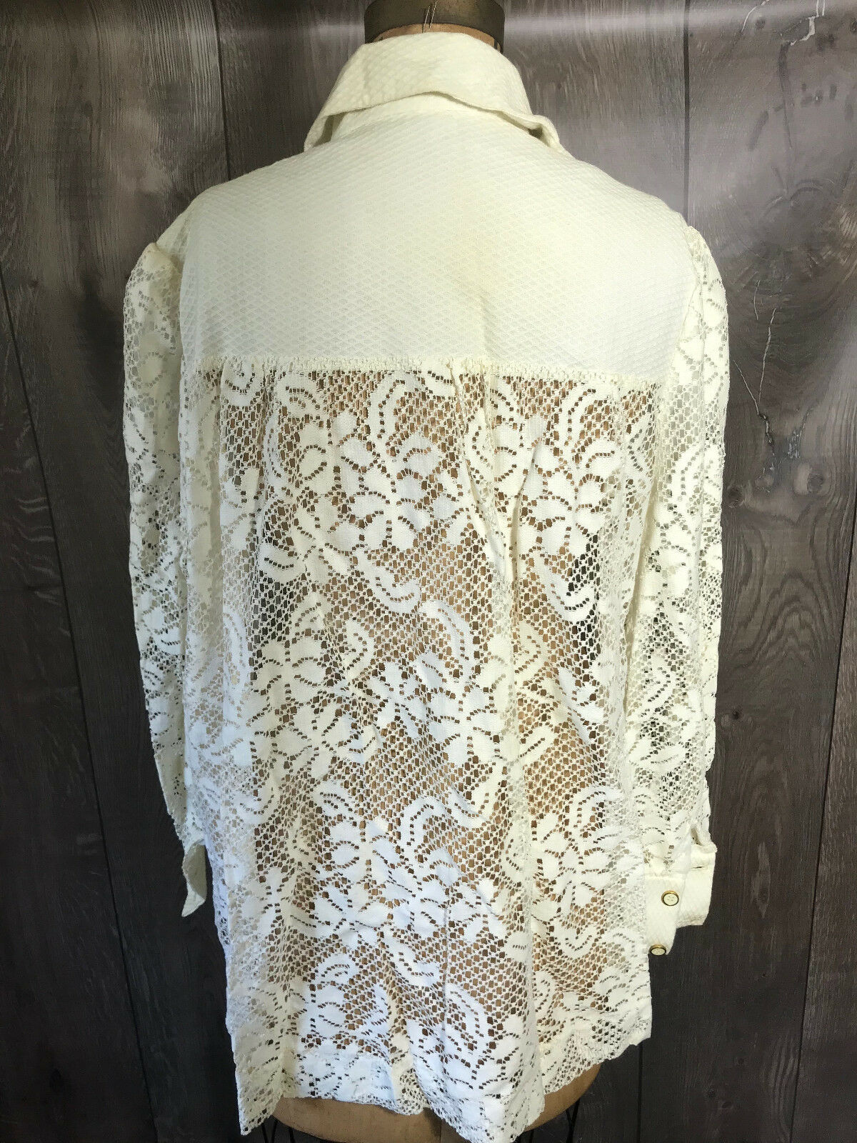 Vintage 1970's Lace Woman's Swimwear Cover Shirt … - image 10