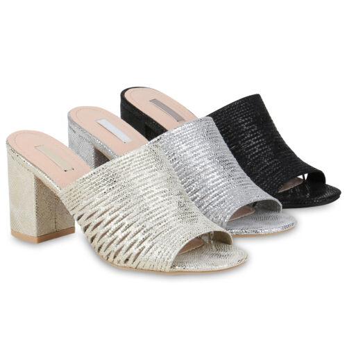 Damen Sandaletten Pantoletten Prints Cut-Outs Blockabsatz 834407 Schuhe