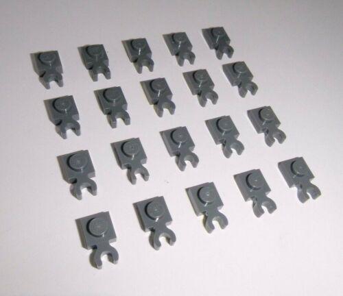 LEGO 10 X PIASTRA 1x1 con clip orizzontale 4085 NUOVO GRIGIO CHIARO