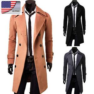 US Autumn Men Warm Woolen Overcoat Long Trench Coats Double Breasted Slim Jacket